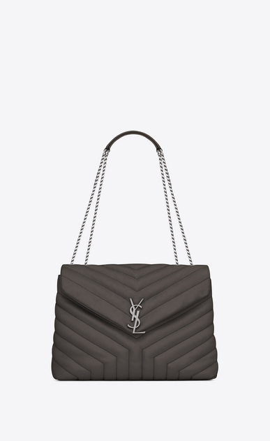 "SAINT LAURENT Monogramme Loulou Woman medium loulou chain bag in grey ""y"" matelassé leather a_V4"