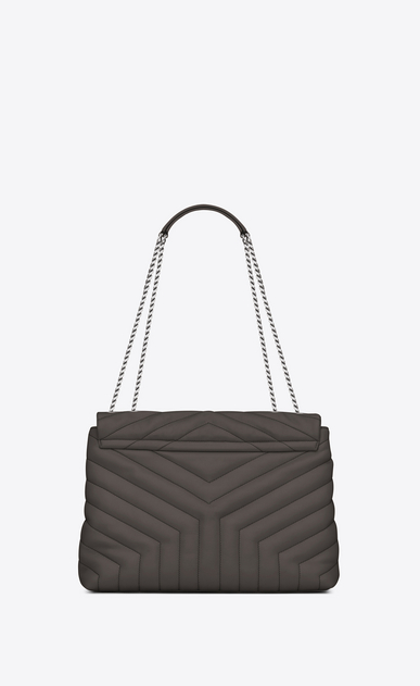"SAINT LAURENT Monogramme Loulou Woman medium loulou chain bag in grey ""y"" matelassé leather b_V4"