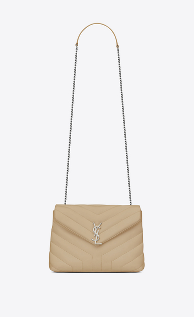 "SAINT LAURENT Monogramme Loulou Woman small loulou monogram chain bag in powder ""y"" matelassé leather a_V4"