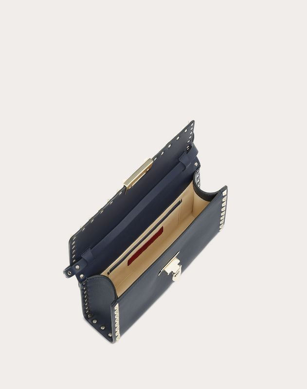 Navy Rockstud Shoulder Bag
