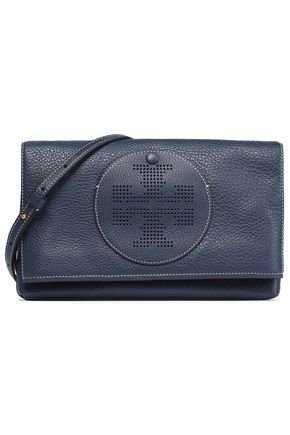 TORY BURCH Laser-cut embellished leather shoulder bag