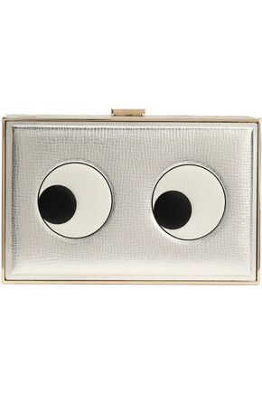 ANYA HINDMARCH Imperial Eyes printed metallic textured-leather box clutch