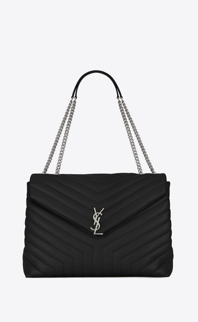 "SAINT LAURENT Monogramme Loulou Woman large loulou chain bag in black ""y"" matelassé leather a_V4"