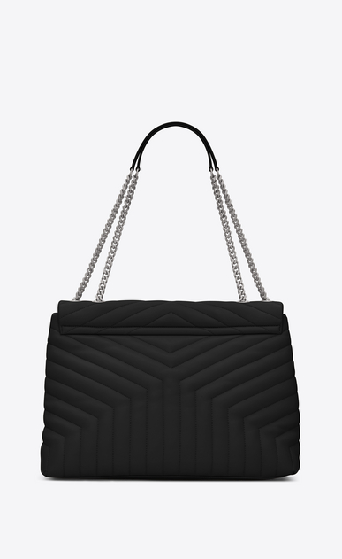 "SAINT LAURENT Monogramme Loulou Woman large loulou chain bag in black ""y"" matelassé leather b_V4"