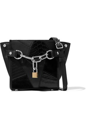 ALEXANDER WANG Embellished croc-effect leather and suede shoulder bag