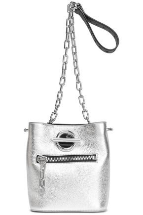 ALEXANDER WANG Metallic cracked-leather bucket bag