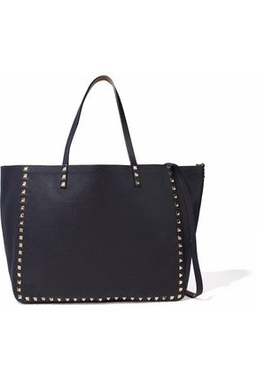 VALENTINO GARAVANI Reversible studded pebbled-leather tote
