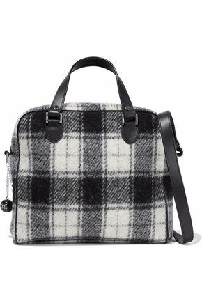 M MISSONI Leather-trimmed brushed-flannel shoulder bag