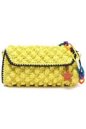 M MISSONI Leather-trimmed crocheted cotton-blend shoulder bag