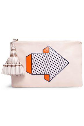 ANYA HINDMARCH Tasseled printed leather clutch