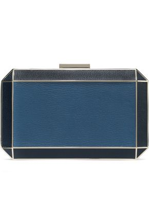 ANYA HINDMARCH Two-tone textured-leather box clutch
