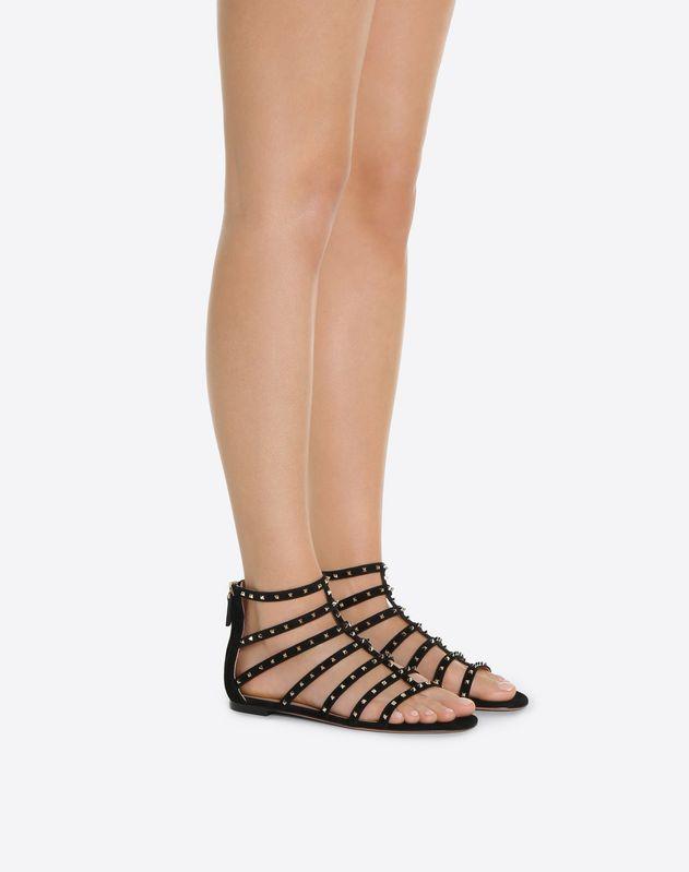 Suede Lovestud Flat Sandal