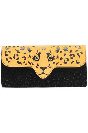 CHARLOTTE OLYMPIA Fierce cutout suede and embellished leather clutch