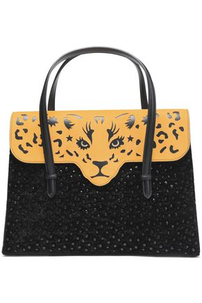 CHARLOTTE OLYMPIA Fierce cutout suede and embellished leather tote