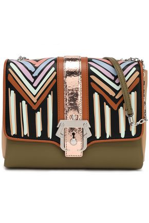 PAULA CADEMARTORI Metallic-trimmed printed leather shoulder bag