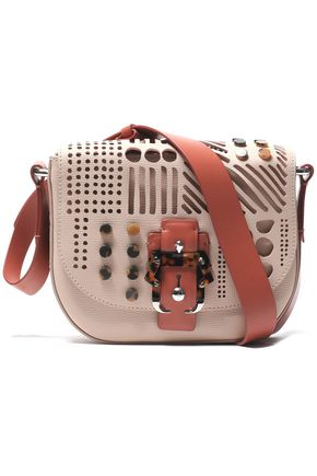 PAULA CADEMARTORI Embellished laser-cut textured-leather shoulder bag