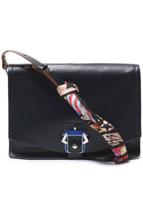 PAULA CADEMARTORI Satin-trimmed leather shoulder bag