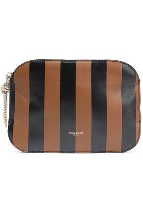 NINA RICCI Tasseled striped leather clutch