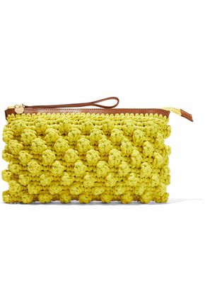 M MISSONI Leather-trimmed crocheted cotton-blend clutch