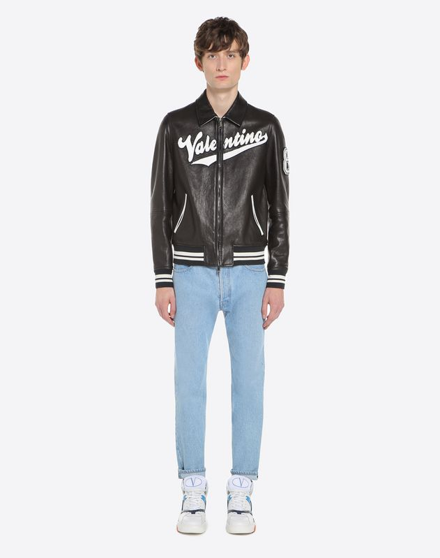 Valentino logo leather biker jacket