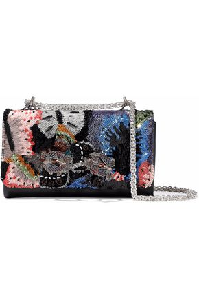 VALENTINO GARAVANI Camubutterfly embellished leather shoulder bag