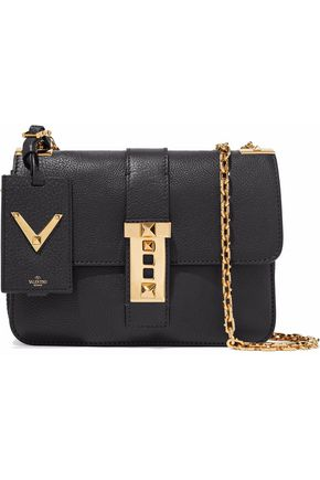 VALENTINO Studded textured-leather shoulder bag