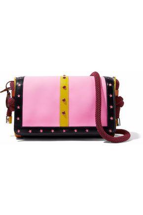 M MISSONI Embellished color-block leather and neoprene shoulder bag
