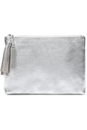 LOEFFLER RANDALL Tasseled metallic textured-leather pouch