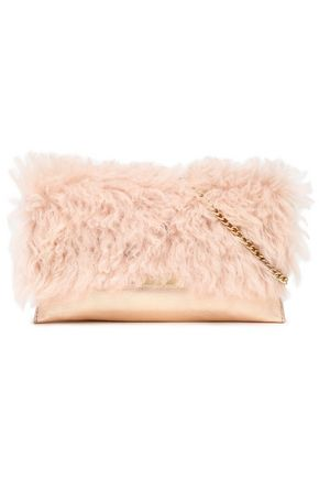 LOEFFLER RANDALL Shearling-paneled metallic leather shoulder bag