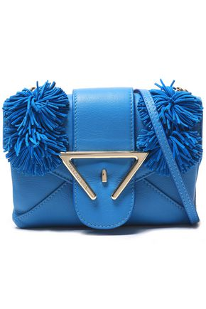 SARA BATTAGLIA Fringe-trimmed leather shoulder bag