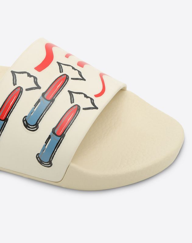 PVC Slide Sandal with Lipstick Print