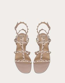 Rockstud 小牛皮袢带低跟凉鞋