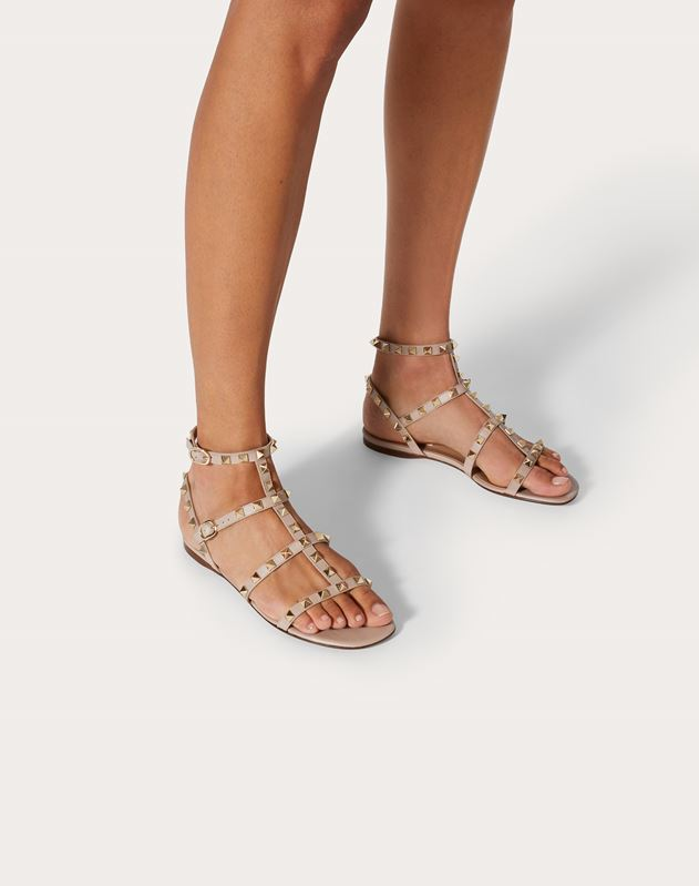 Rockstud Ankle Strap Flat Sandal in Calfskin Leather