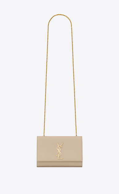 SAINT LAURENT MONOGRAM KATE Woman classic small kate chain bag in powder textured leather a_V4
