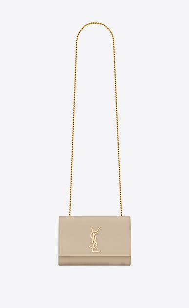 SAINT LAURENT MONOGRAM KATE Donna classic small monogram satchel in pelle grain de poudre color cipria a_V4