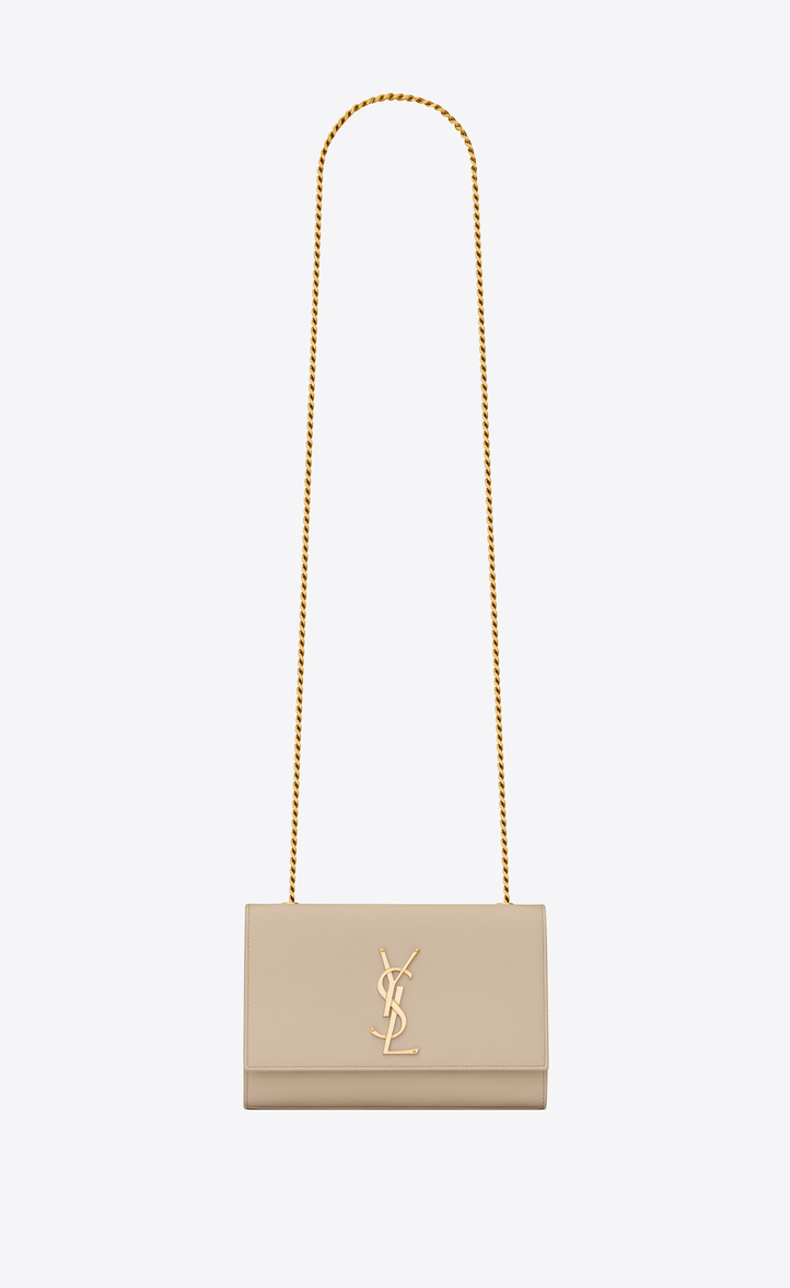 7621fe09c8bf Saint Laurent Small Kate Chain Bag In Powder Textured Leather ...