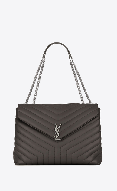 "SAINT LAURENT Monogramme Loulou Woman large loulou chain bag in earth grey ""y"" matelassé leather a_V4"