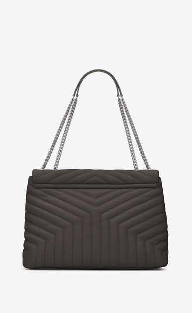 "SAINT LAURENT Monogramme Loulou Woman large loulou chain bag in earth grey ""y"" matelassé leather b_V4"