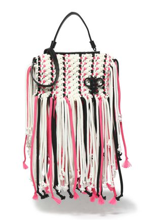 EMILIO PUCCI Fringed tasselled braided leather shoulder bag