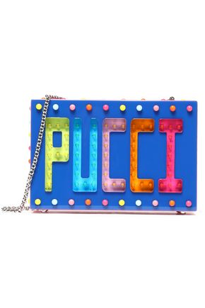 EMILIO PUCCI Studded cutout plastic shoulder bag