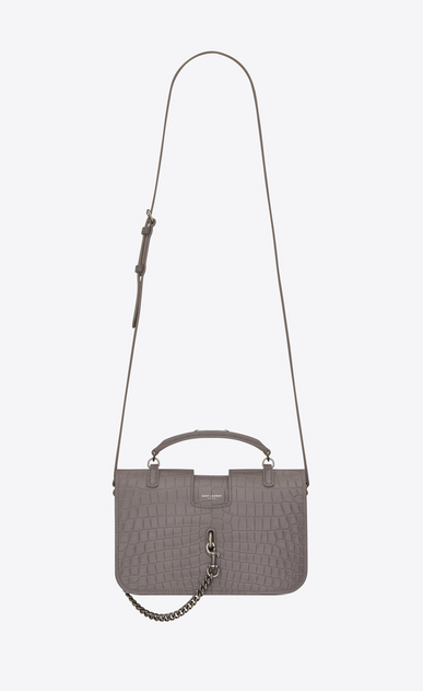 SAINT LAURENT Charlotte Woman medium charlotte messenger bag in fog crocodile embossed leather a_V4