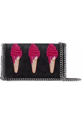 STELLA McCARTNEY Chain-embellished appliquéd faux brushed-leather shoulder bag