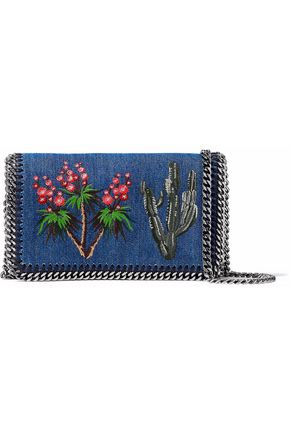 STELLA McCARTNEY Embroidered chain-embellished denim shoulder bag