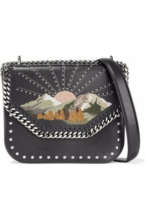 STELLA McCARTNEY Embroidered and studded faux-leather shoulder bag