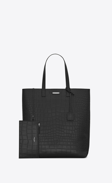 SAINT LAURENT Tote Bag Uomo tote bag in pelle nera a stampa coccodrillo b_V4