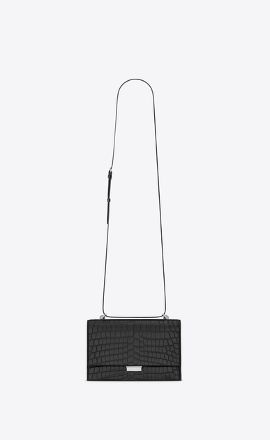 SAINT LAURENT Babylone Small Woman small babylone satchel in black crocodile embossed leather a_V4