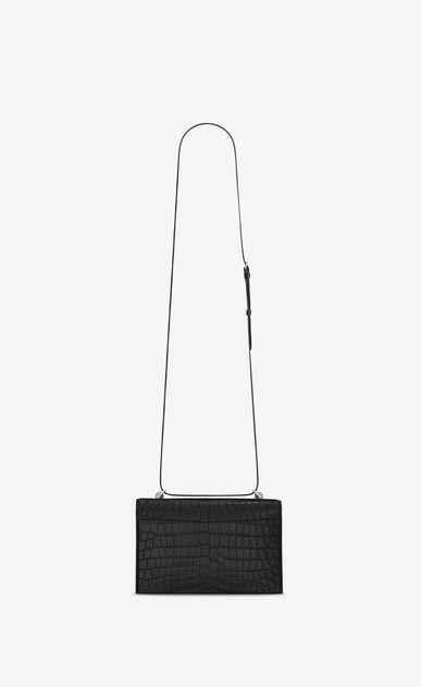 SAINT LAURENT Babylone Small Woman small babylone satchel in black crocodile embossed leather b_V4