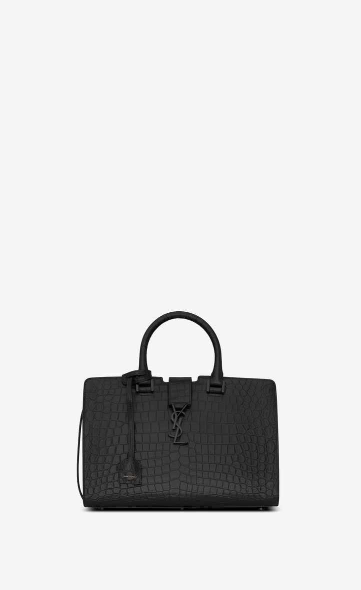 SMALL CABAS YSL BAG IN BLACK CROCODILE EMBOSSED LEATHER