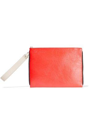 BRUNELLO CUCINELLI Bead-embellished coated textured-leather shoulder bag