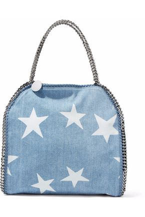 STELLA McCARTNEY Faux suede-trimmed printed denim shoulder bag